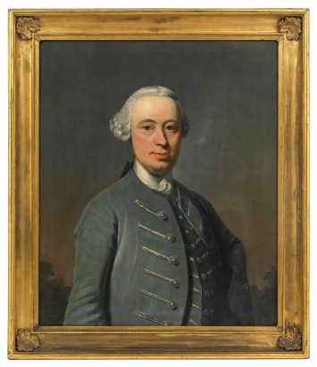 PP.2016.38.1 PAINTINGS painting John Glassford of Dougalston (1715-1783) Harvie, Robert (active 1758, died 1781, Scottish) Scotland, Glasgow (place associated) 1752 oil on canvas overall: 910 mm x 790 mm (framed) The portrait shows John Glassford wearing a wig, and great grey or silver jacket. It was commissioned to celebrate and commemorate John Glassford's second marriage in 1752 to Ann Nesbit of Dean. The wedding took place in Glasgow.