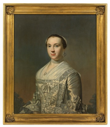 PP.2016.38.2 PAINTINGS painting Ann Nesbit of Dean Harvie, Robert (active 1758, died 1781, Scottish) Scotland, Glasgow (place associated) 1752 oil on canvas overall: 910 mm x 790 mm (framed) The portrait shows Ann Nesbit of Dean wearing earrings, necklace and hat and a white and silver dress. The portrait was commissioned to celebrate and commemorate John Glassford's second marriage in 1752 to Ann Nesbit of Dean. The wedding took place in Glasgow. Anne Nesbit was Glassford's second wife. She was also painted into the Glassford family portrait (2887) but later painted over for Glassford's third wife, Lady Margaret Mackenzie.
