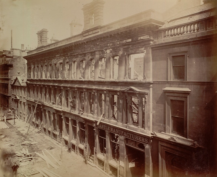 A sepia photograph of a building in Miller Street, Glasgow, following a fire in the adjacent wareshouse
