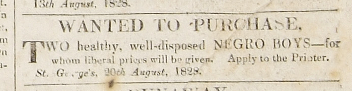Photograph of an advert in the Grenada Free Press and Public Gazette