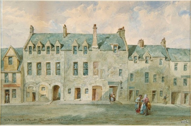 Colour photo of a watercolour of The Duke's Lodgings in Glasgow Museums' collection