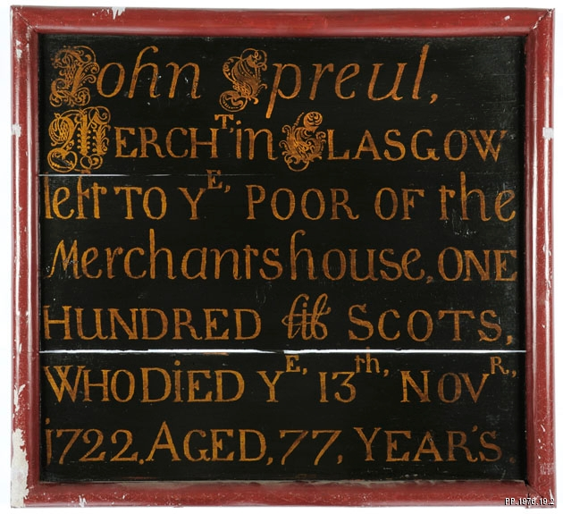 Colour photograph of John Spreull's mortification board in Glasgow Museums' collection